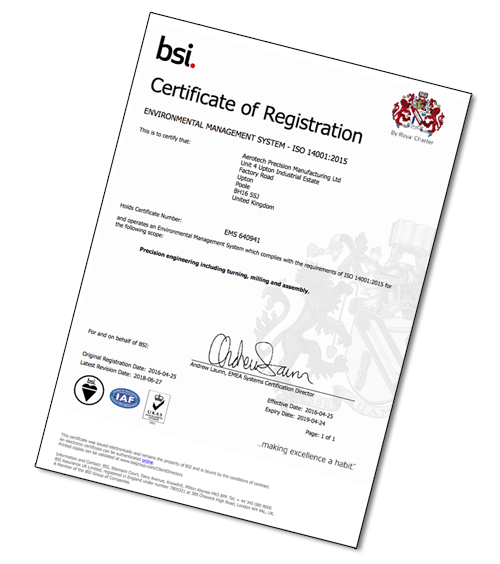 14001-certificate from Aero-tech Ltd